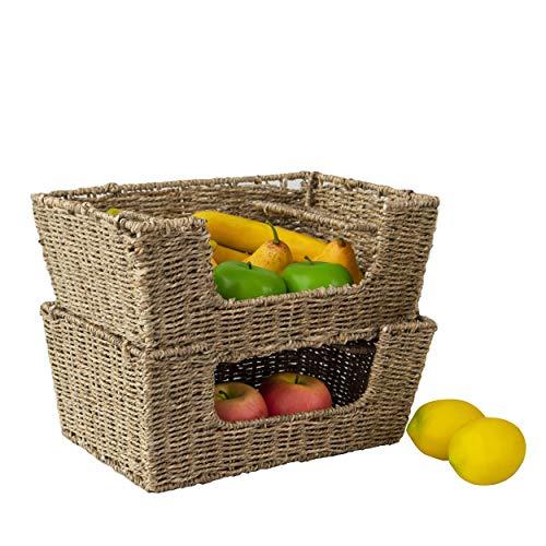 Made Terra - Juego de 2 cestas de almacenamiento apilables de mimbre con asas para alimentos, frutas, verduras y alimentos para cocina, despensa y decoración del hogar