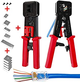 ITBEBE RJ45 Crimping Tool Made of Hardened Steel with Wire Cutter Stripping Blades and..