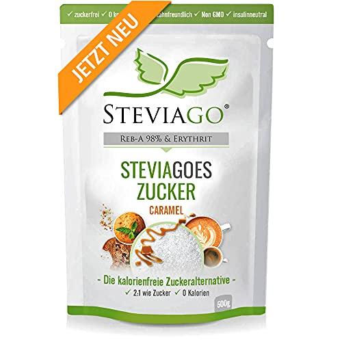 STEVIAGOES Zucker (Caramel) - der 2:1 Zuckerersatz aus Erythrit+Stevia (98% Reb-A) mit Karamellaroma, 0 Kalorien, vegan, geeignet für Keto Diät und Low Carb Diät, 500g