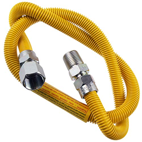 """Supplying Demand 203-3132 Dryer Gas Hose With Fittings Compatible With 1/2"""" MIP x 1/2"""" FIP Hose Connections (3 Feet)"""