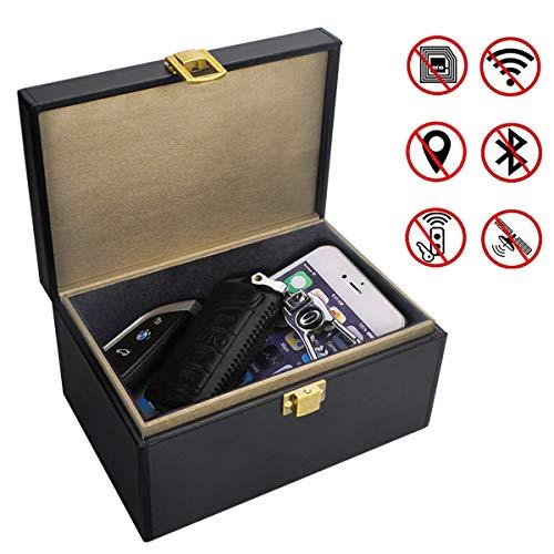 Qcore Faraday Caja para llaves de coche, caja de bloqueo de señal de llave de coche grande, jaula de piel antirrobo para Faraday, bolsa sin llave RFID para llaves de coche, caja de tarjetas