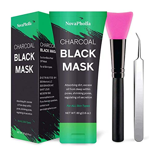 Novapholia Charcoal Peel Off Face Mask for Blackheads and Pores Black Mask With Blackhead Extractor and Brush – Deep Cleansing Facial Mask – Blackhead Remover and Oil Control Mask 80ml