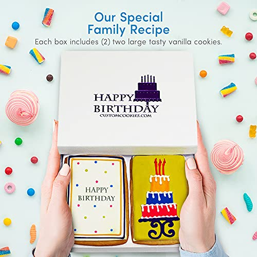 Gourmet Happy Birthday Cookie Gift Basket   2 Large 2.5 x 4.5 in Vanilla Sugar Cookies Hand-Decorated Snack Variety Pack   Kosher B-Day Bakery Care Package For Women, Men Boys & Girls   Prime Delivery