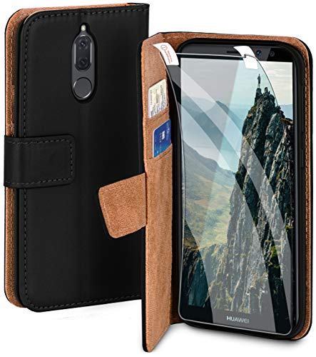 moex Handyhülle für Huawei Mate 10 Lite - Hülle mit Kartenfach, Geldfach und Ständer, Klapphülle, PU Leder Book Case und Schutzfolie - Schwarz