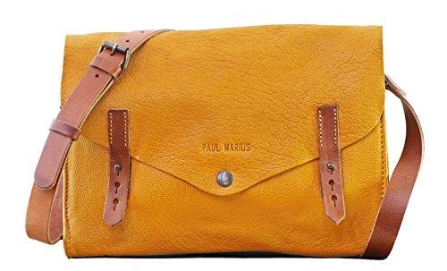 L'INDISPENSABLE Amarillo Azafrán bolso de cuero estilo vintage PAUL MARIUS