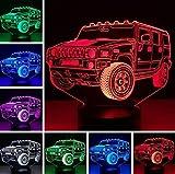 Luz de la noche 2019 Cool Jeep Car 7 Gradiente de atenuación de color RGB 3D...