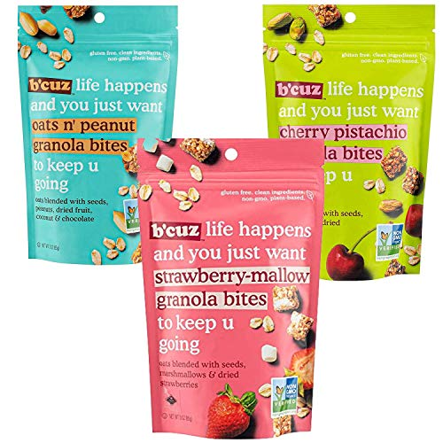 B'Cuz Life Happens Snack Granola Bites, Gluten Free, Non-GMO, Plant Based (Pack Of 3) (Variety Pack)