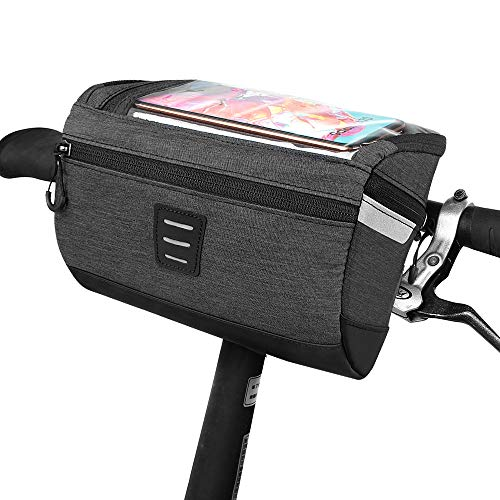 Bicycle Handlebar Front Frame Bag - Transparent Waterproof Touch Screen Mobile Phone Bag, and Reflective Stripe Polyester Bag, Safe Night Riding for Road Mountain Bike Outdoor