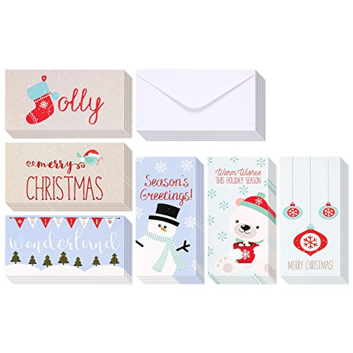 Winter Holiday Money Christmas Greeting Cards - 6 Winter Christmas Designs Including Ornaments, Polar Bears, Stockings, Snowflakes, Merry Christmas, Envelopes Included - 36 Pack - 3.5 x 7.25 Inches