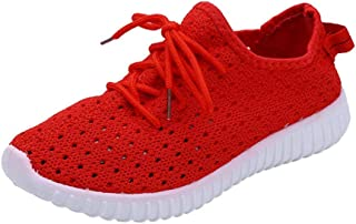Fiaya Women's Sneakers Casual Lace Up Comfortable Ultra Lightweight Breathable Mesh Sport Gym Walking Shoes (Red, US:8)