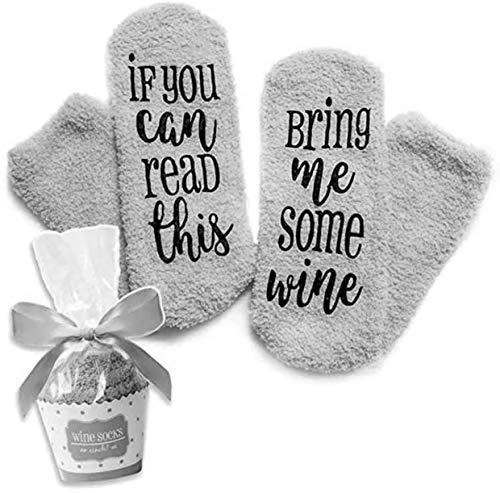 GRAUE Wein Socken If You can read this bring me some wine Lustige Socken Geschenke - Für Weinliebhaber, Geburtstagsgeschenk für Frauen, Männer Wein-Zubehör, Geschenke, Mitbringsel