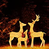 MUPATER Lighted Outdoor Christmas Decoration for Yard, 3-Piece Deer Family Set with Lights, Ground Stakes and Zip Ties, Gold