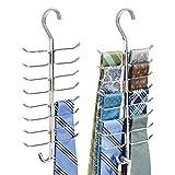 mDesign Gürtelhalter und Krawattenhalter – vertikale Aufbewahrung mit 17 Haken für Gürtel, Krawatten, Schals etc. im Kleiderschrank – chrom - 2er Set