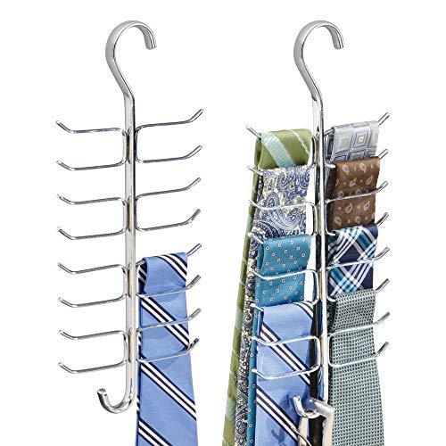 mDesign portacinture e portacravatte – perfetto appendi foulard verticale con 17 asticelle per alloggiare nell'armadio cravatte, cinture, sciarpe etc. – colore: cromo - Confezione da 2