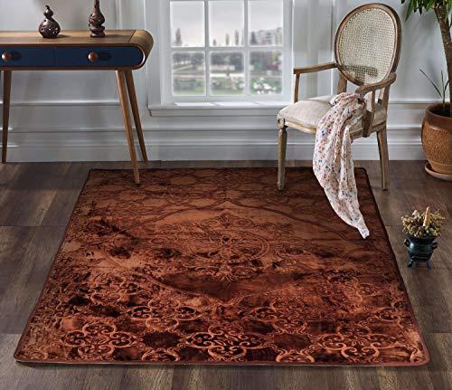 makeups110 Vintage Teppich Klassisch Kurzflor Oriental Ornament Medaillon Blumen Teppichläufer für Wohnzimmer Schlafzimmer Braun 200x300CM (78x118 inch)