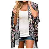 GEU - Vestido de muselina para mujer, diseño floral, protección solar, cárdigan y kimonos Tops Outwear Blusa de muselina ligera de seda, talla única
