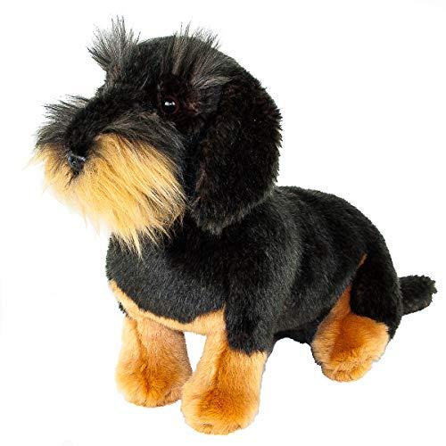 Teddys Rothenburg Peluche de perro salchicha sentado (28 cm), color negro y marrón