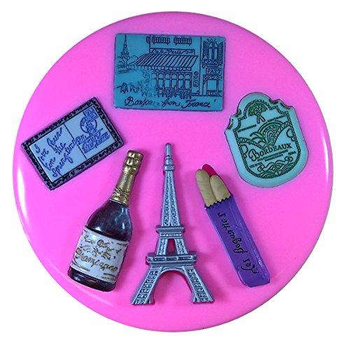 France Thème Français Français Tour Eiffel Baguette Champagne Moule en silicone Moule pour décoration gâteau glaçage pour gâteau Sugarcraft outil de fées Blessings