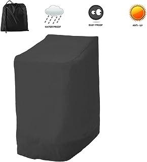 willkey Funda protectora para sillas de jardín, resistente al viento, resistente a los rayos UV, 210D, para silla de jardín, apilable, 114 x 85 x 65 cm (negro 210D)