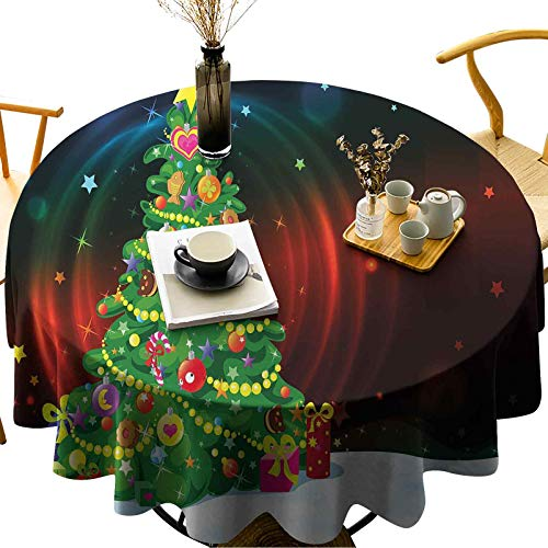 Table Cloths Washable Quick Drying Water Resistant Round Colorful Funny Decorated Xmas Tree Abstract Backdrop with Stars Presents Cartoon Diameter 70 inch Polyester Tablecloths for Round Tables
