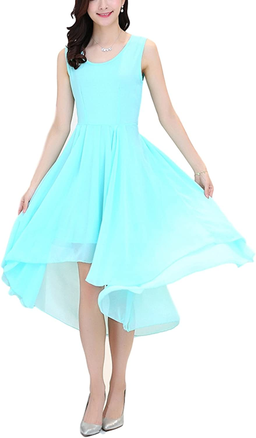 Sekitobajapan.inc a line Sleeveless high Low Dress for Women Sky bluee and Turquoise