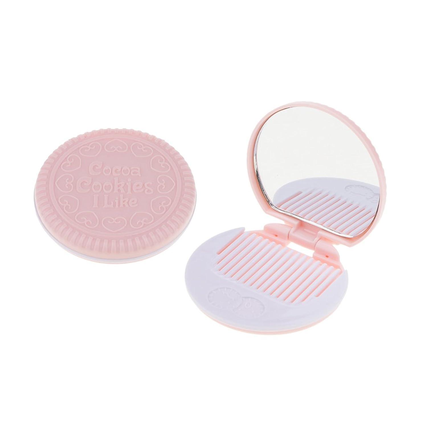 ジャーナル使役つぼみBaosity 2個入 メイクアップミラー 化粧ミラー 化粧鏡 コーム ポケットサイズ 可愛い ラウンド 折りたたみ  全4色   - ピンク