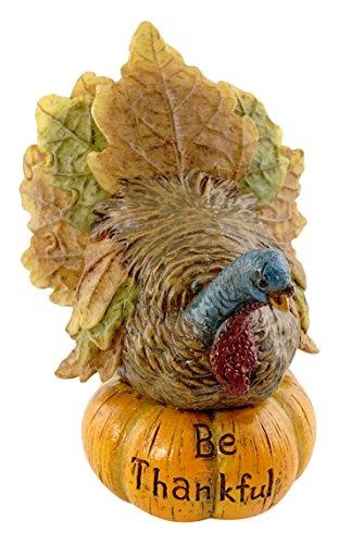 Top Collection Miniature Fairy Garden and Terrarium Be Thankful Turkey On Pumpkin Figurine