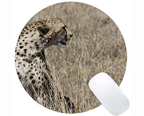 Yanteng Cojín de ratón Redondo con el Borde de fijación, Familia del Gato del Guepardo Leopardo Alrededor de los Cojines de ratón