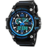 Mens Digital Watches 50M Waterproof Outdoor Sport Watch Military Multifunction Casual Dual Display Stopwatch Wrist Watch - Black Blue