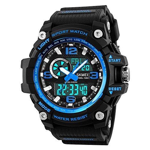 Mens Digital Watches 50M Waterproof Outdoor Sport Watch Military Multifunction Casual Dual Display Stopwatch Wrist Watch - Black Blue