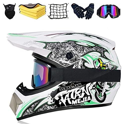 Casco Da Motocross Professionale, Casco Integrale Per Bambini, Con Occhiali,guanti,maschere Per Il Viso,asciugamano,rete Per Moto,Quad Bike ATV Go-kart Stampato Moto Da Cross Casco (D,S (55-56CM))