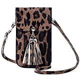 SHOE GONE Small Fringe Crossbody Bag Cell Phone Purse Wallet with Touch Screen Window Carabiner Credit Card Slots for Women Gift Leopard, Medium