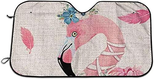 Visera Solar Fresca y cómoda, Tablero de Aislamiento térmico, tapón Frontal Anti-pío 135 * 70, Adecuado para Todas Las Estaciones,Flamingo Valentine Tropical Cute Funny Car Sombrilla -White11