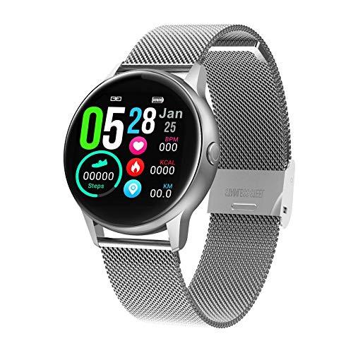 QIAI Reloj Inteligente con Monitor de frecuencia cardíaca, podómetro Impermeable IP68, Pulseras Bluetooth, rastreador de Actividad física, Reloj Inteligente para Mujeres con Monitor de sueño(Color:Y)