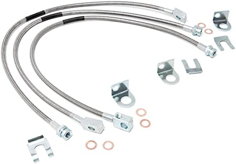 Rough Country Extended Stainless Brake Lines (fits) 1987-2006 Jeep Wrangler TJ YJ | 84-01 Cherokee XJ | Full Set | 89715: image