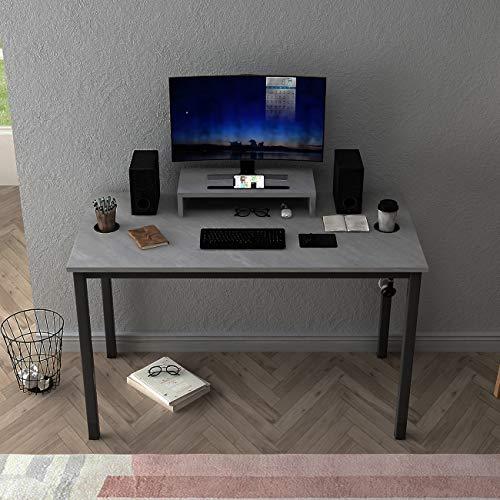 DlandHome - Scrivania per computer da gioco, 120 x 60 cm, con supporto per display, gambe grigie e nere