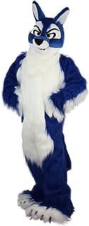 Langteng Blå räv hund varg hårig tecknad maskot kostym äkta bild 15-20 dagars leverans märke