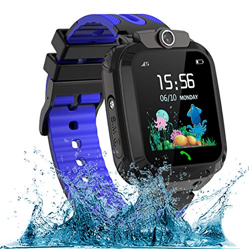 Kinder Smartwatch Phone Wasserdicht IP67 Kids SmartWatches Uhr LBS Tracker SOS Voice Chat Jungen Mädchen für Weihnachten Geburtstagsgeschenk (Blau)