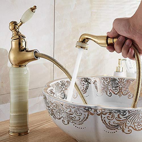 QIMEIM - Grifo para cuarto de baño, grifo de lavabo, grifo de baño, tipo tirador de latón antigüedad, retráctil, caliente y frío