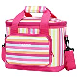 MIER 16 Can Large Insulated Lunch Bag for Women, Soft Leakproof Liner, Pink