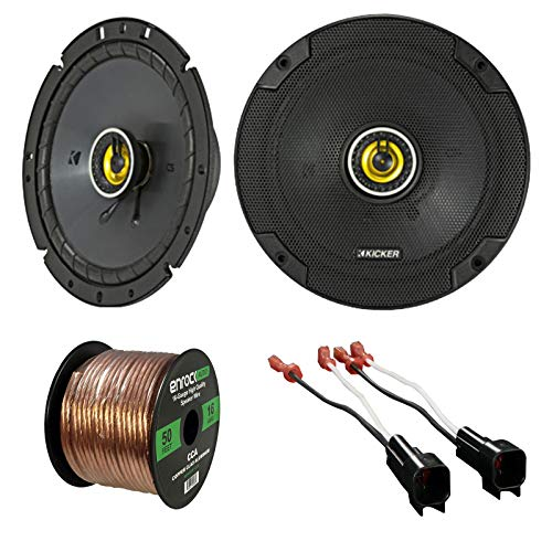 Car Speaker Set Combo of 4 Kicker 40CS684 6x8 Inch 450W 2-Way Car Coaxial Stereo Speakers + 4 Metra 72-5600 Speaker Connector for Ford, Lincoln, Mazda, Mercury, Enrock 50ft 16g Speaker Wire