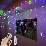 LED-Vorhanglichter, 1,5 m x 0,5 m, USB 48 LEDs, Sternenlichterkette, Fernbedienung, dekorative Fensterlichter, 8 Modi, wasserabweisend, Lichterkette für Garten, Pavillon, Party, Terrasse und mehr