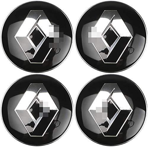 YZZR Tapas para Llantas,para Renault Duster Logan Clio Scenic Laguna Megane de 60mm 4pcs con Logo Compatible Coche Centro de Ruedas Emblema Prueba de Polvo Pegatina Rueda Centro Cubierta
