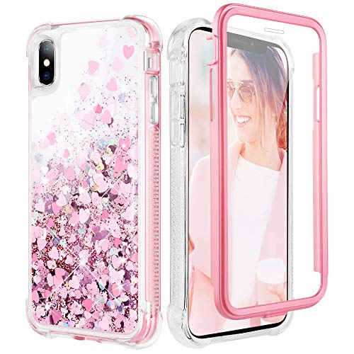 Caka Glitter Case for iPhone Xs Max Case Bling Shiny Sparkle Shockproof Protective Full Body Heavy Duty TPU Bumper Liquid Flowing Love Glitter Women Girl Case for iPhone Xs Max (6.5 inch)(Rose Gold)