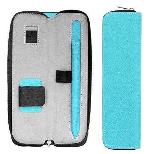 MoKo Holder Case for Apple Pencil (1st & 2nd Gen), Carrying Bag Sleeve Cover for iPad Pro 11 & 12.9 2020/iPad 10.2/iPad Air(3rd Gen) 10.5/iPad Mini(5th Gen) 7.9 2019, Built-in Pocket - Light Blue