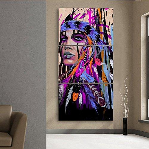 3 Pcs encadrée indien d'Amérique Violet abstrait Impressions sur toile - 3 Pièces sur toile Native Indian illustrations Peinture sur le mur Art pour bureau et maison Décoration murale, Toile