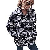 LIVACASA Felpe Donna Pullover Morbido Pile Tops Termico a Manica Lunga Maglione Donna Caldo con Tasche Ragazza Invernale Grigio XL
