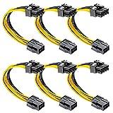 cersaty® 6 Stück 6 pin auf 8 pin Verlängerung Grafikkarte Stromkabel Adapter 18cm pcie Kabel