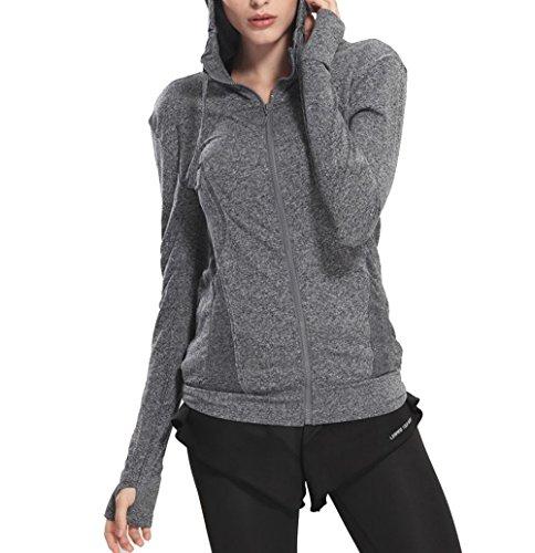 Lightweight Active Performance Full-zip Hoodie Jacket Stretchy Sports Jacket Grey XXL