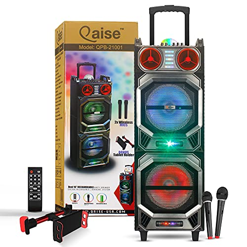 Qaise - Rechargeable karaoke machine Bluetooth Speaker for parties with wireless Microphones, LED Lights, Deep Bass, tablet and phone holder, Loud Party Sound System, Portable tailgate PA Speaker
